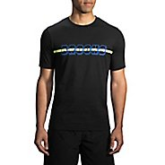 Mens Brooks T-Shirt Short Sleeve Non-Technical Tops - Heather Black XS