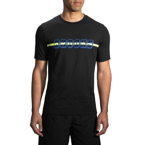 Mens Brooks T-Shirt Short Sleeve Non-Technical Tops - Heather Black XXL