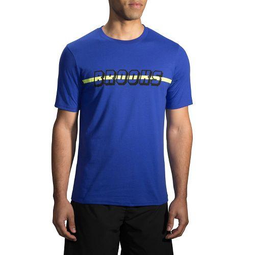 Mens Brooks T-Shirt Short Sleeve Non-Technical Tops - Heather Cobalt L