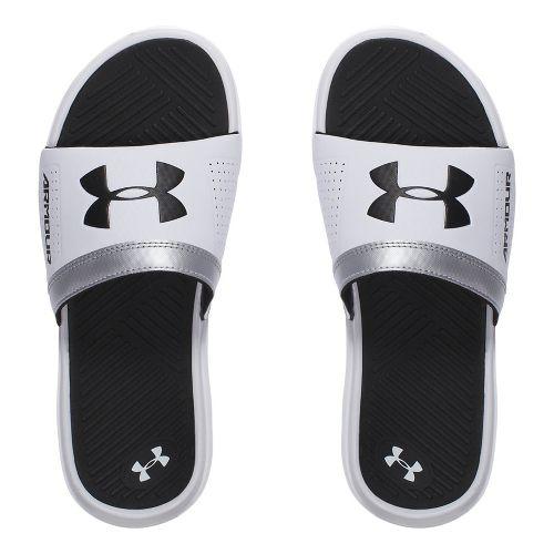 Under Armour Playmaker VI SL Sandals Shoe - White/Black 4Y
