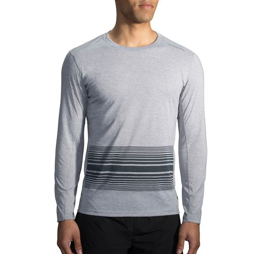 Mens Brooks Distance Printed Long Sleeve Technical Tops - Heather Sterling L