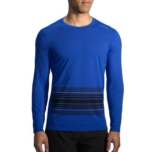 Mens Brooks Distance Printed Long Sleeve Technical Tops - Heather Cobalt/Black XS