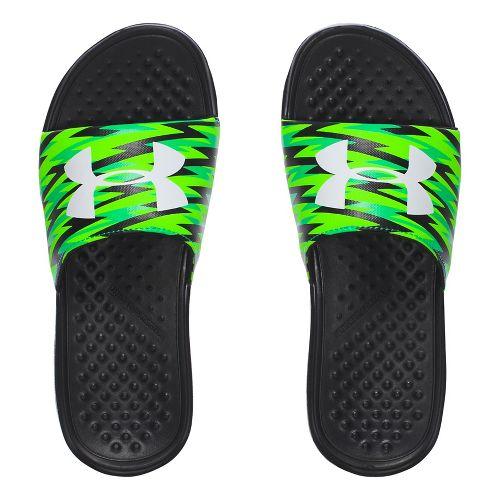 Under Armour Strike Flash SL Sandals Shoe - Black/Green 4Y