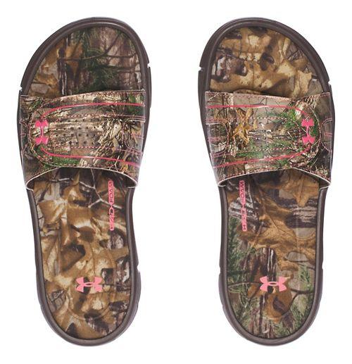 Womens Under Armour  Ignite Camo VIII SL Sandals Shoe - Cleveland Brown 12
