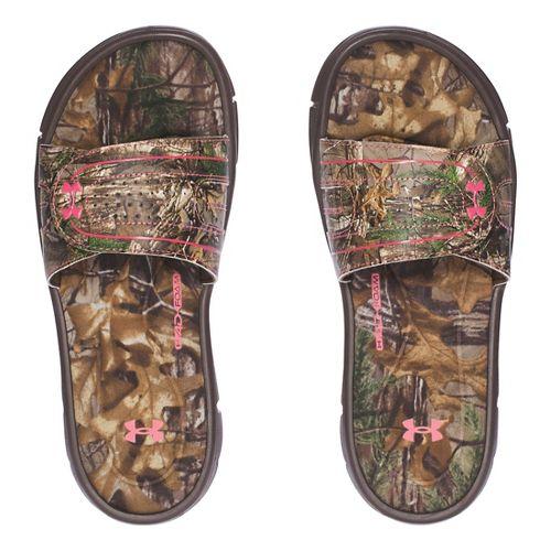 Womens Under Armour  Ignite Camo VIII SL Sandals Shoe - Cleveland Brown 8