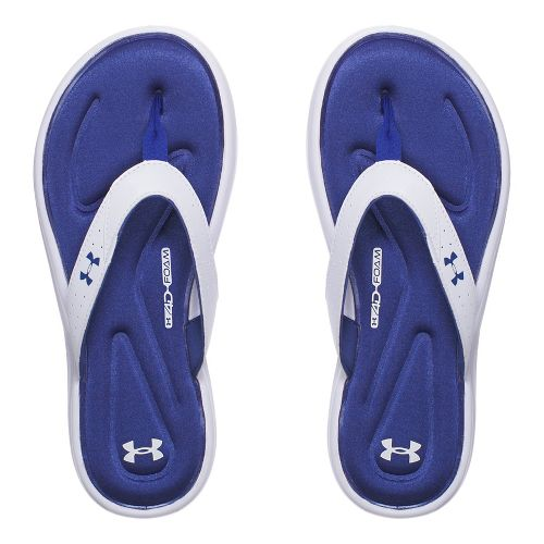 Womens Under Armour Marbella V T Sandals Shoe - White/Deep Periwinkle 8