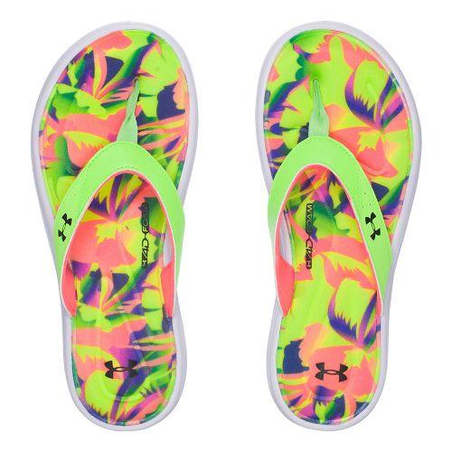 Womens Under Armour Marbella Floral V T Sandals Shoe - Lime Light 10