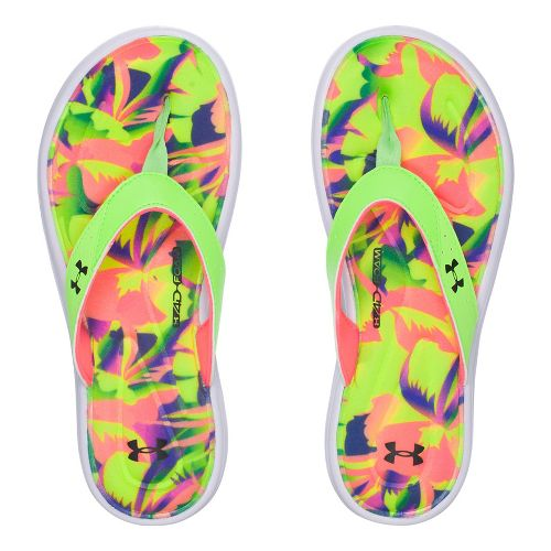 Womens Under Armour Marbella Floral V T Sandals Shoe - Lime Light 6