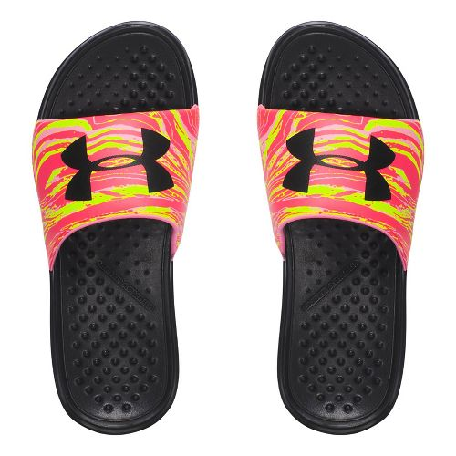 Womens Under Armour Strike Swirl SL Sandals Shoe - Black/Yellow 10