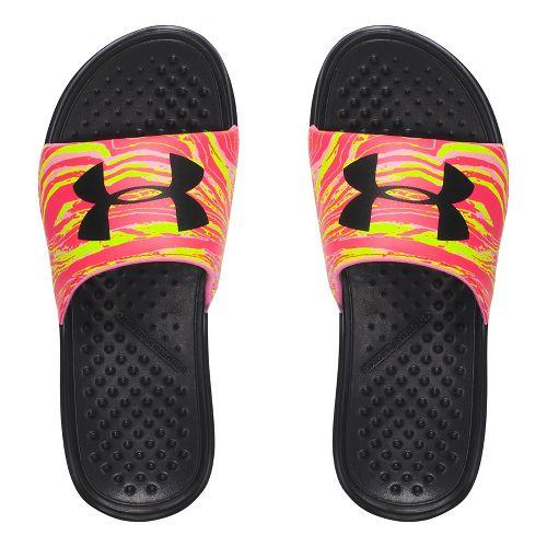 Womens Under Armour Strike Swirl SL Sandals Shoe - Black/Yellow 8