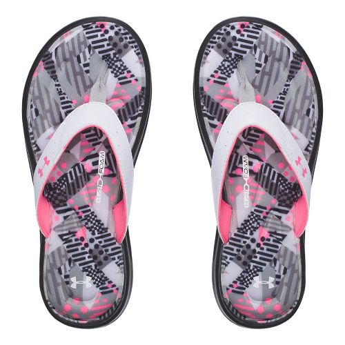 Under Armour Marbella Geo Mix V T Sandals Shoe - Black/White/Pink 4Y