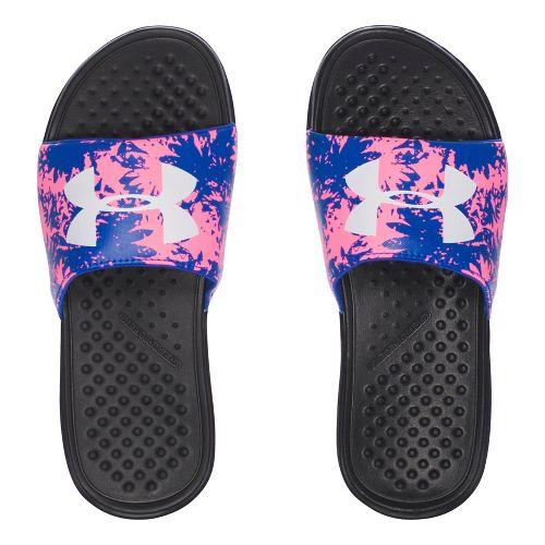 Under Armour Strike Floral SL Sandals Shoe - Black/Royal/Pink 5Y