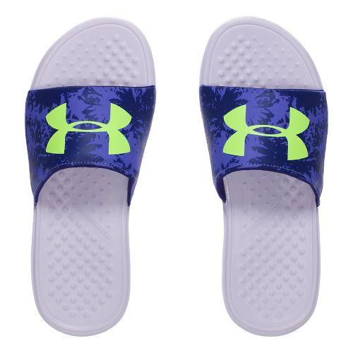 Under Armour Strike Floral SL Sandals Shoe - Purple/Lime 3Y