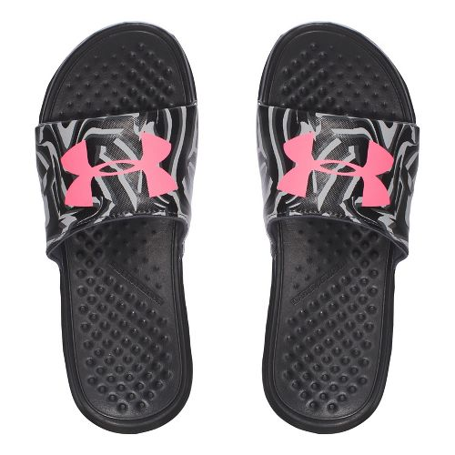 Under Armour Strike Stripe SL Sandals Shoe - Black/Pink 12C