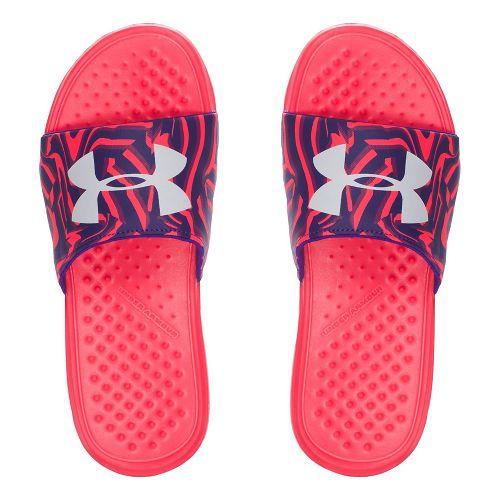 Under Armour Strike Stripe SL Sandals Shoe - Coral/Purple 3Y