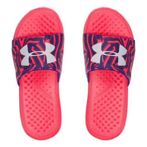 Under Armour Strike Stripe SL Sandals Shoe - Coral/Purple 5Y