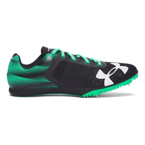 Mens Under Armour  Kick Distance Spike Track and Field Shoe - Black/Green 11.5