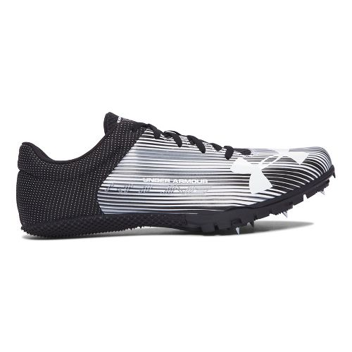 Mens Under Armour Kick Sprint Spike Track and Field Shoe - White/Black 8.5