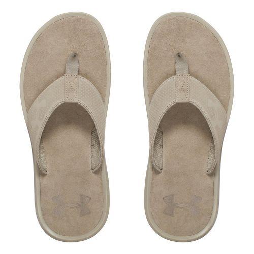 Mens Under Armour Elite Harbor T Sandals Shoe - Dune/Black 7