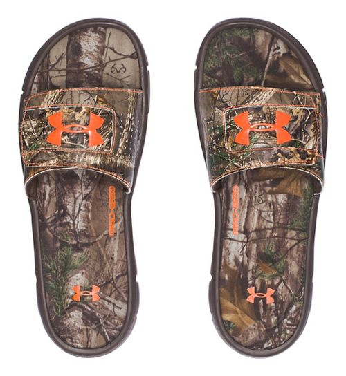 Mens Under Armour Ignite Camo V SL Sandals Shoe - Brown/Orange 12