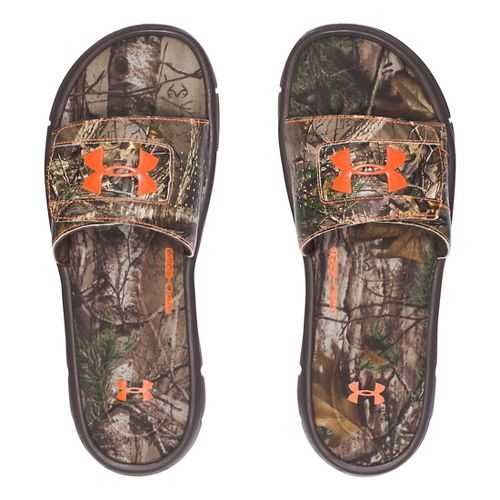 Mens Under Armour Ignite Camo V SL Sandals Shoe - Brown/Orange 13