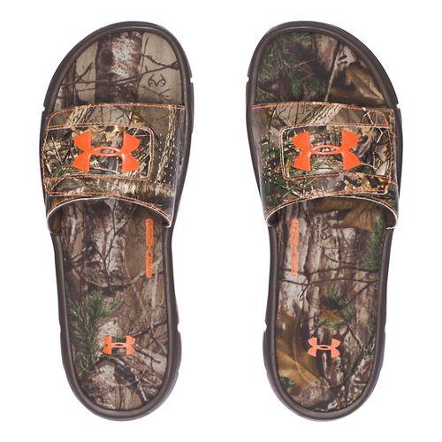 Mens Under Armour Ignite Camo V SL Sandals Shoe - Brown/Orange 8
