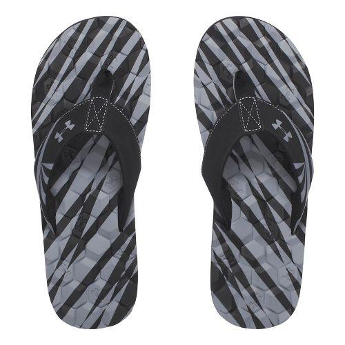 Mens Under Armour Marathon Key II T Sandals Shoe - Black/Grey 7