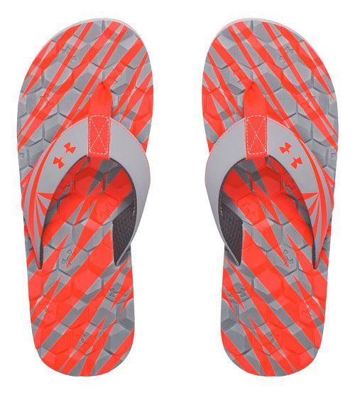 Mens Under Armour Marathon Key II T Sandals Shoe - Grey/Fire 9