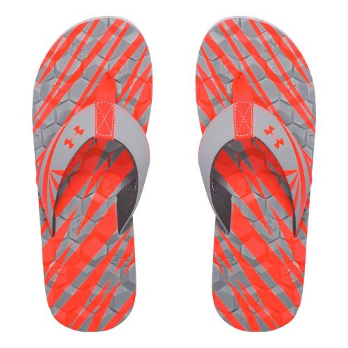 Mens Under Armour Marathon Key II T Sandals Shoe - Grey/Fire 10