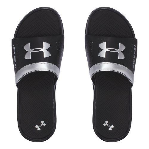 Mens Under Armour  Playmaker VI SL Sandals Shoe - Black/Silver 10
