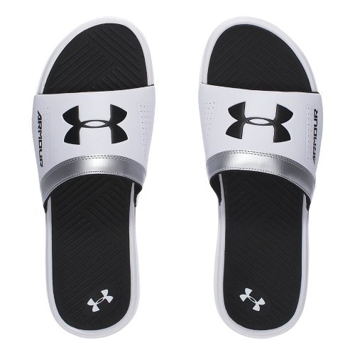 Mens Under Armour  Playmaker VI SL Sandals Shoe - White/Black 11