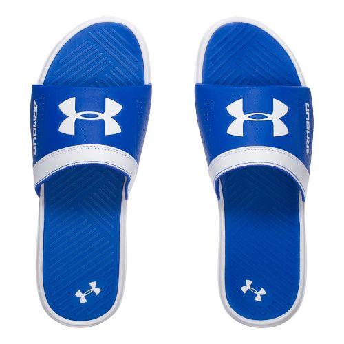 Mens Under Armour  Playmaker VI SL Sandals Shoe - White/Royal 10