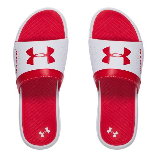 Mens Under Armour  Playmaker VI SL Sandals Shoe - White/Red 11