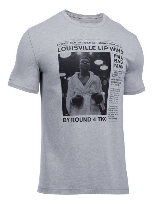 Mens Under Armour Ali Collectable Fight 13 Tee Short Sleeve Technical Tops - True Grey Heather M