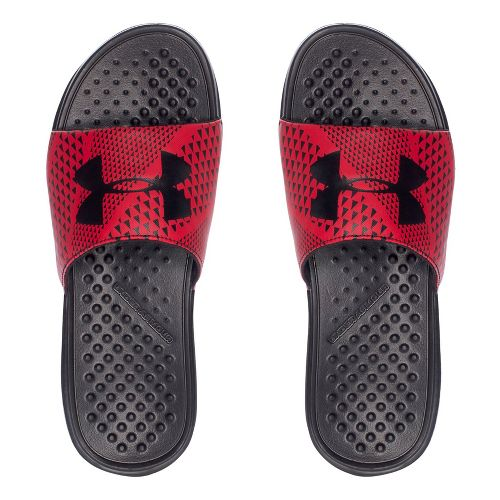 Mens Under Armour Strike Micro Geo SL Sandals Shoe - Black/Red 11