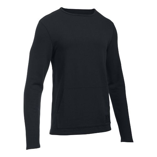 Mens Under Armour Ali Terry Crew Long Sleeve Technical Tops - Black/Rhino Grey M