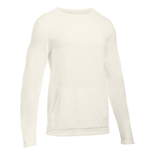 Mens Under Armour Ali Terry Crew Long Sleeve Technical Tops - Ivory S