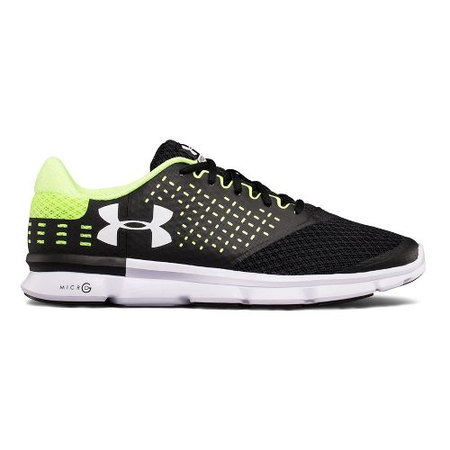 Mens Under Armour Micro G Speed Swift 2 Running Shoe - Black/Quirky Lime 9