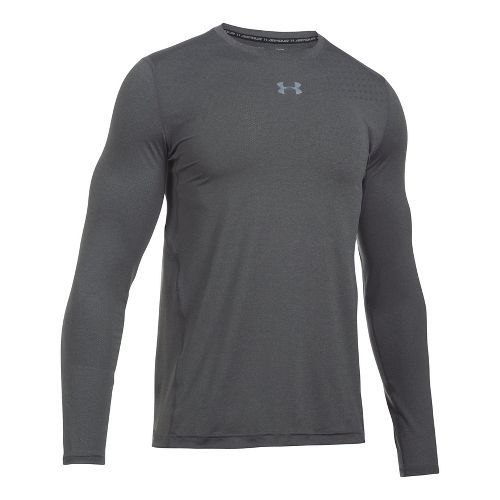 Mens Under Armour Coolswitch Twist Long Sleeve Technical Tops - Carbon Heather S