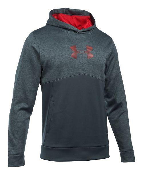 Mens Under Armour Fleece Logo Twist Half-Zips & Hoodies Technical Tops - Steel/Red/Red M