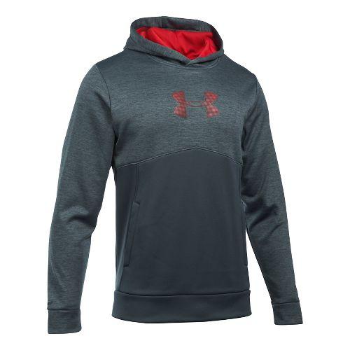 Mens Under Armour Fleece Logo Twist Half-Zips & Hoodies Technical Tops - Steel/Red/Red XL