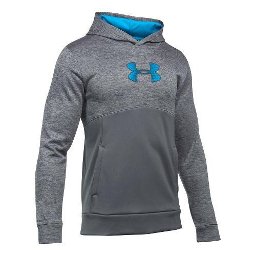 Mens Under Armour Fleece Logo Twist Half-Zips & Hoodies Technical Tops - Graphite/Blue/Blue L