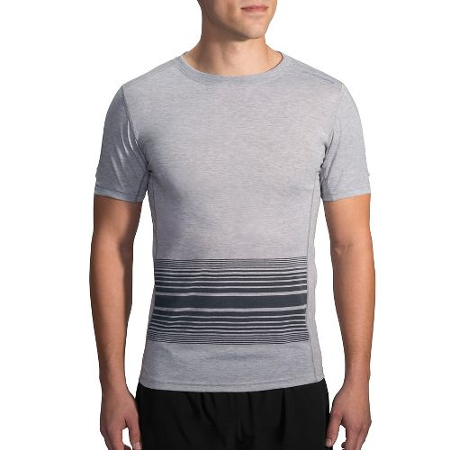 Mens Brooks Distance Printed Short Sleeve Technical Tops - Heather Sterling XL