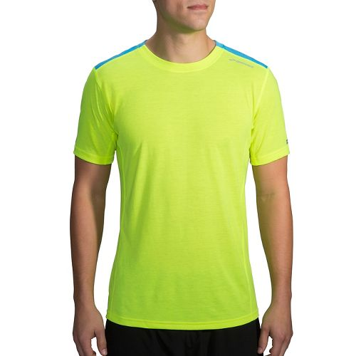 Mens Brooks Distance Printed Short Sleeve Technical Tops - Nightlife/Ultra Blue XS