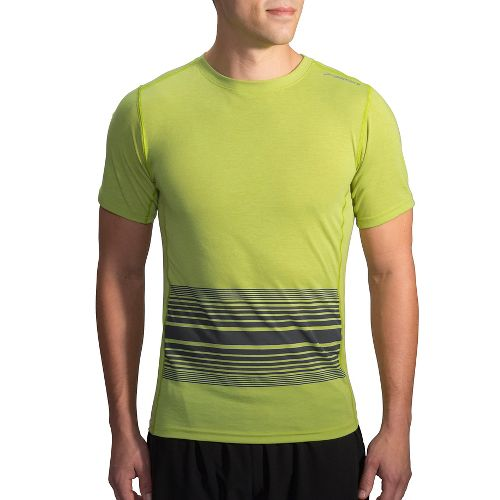 Mens Brooks Distance Printed Short Sleeve Technical Tops - Heather Grove XS