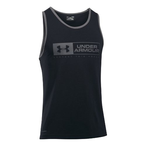 Mens Under Armour Bar Lockup Sleeveless & Tank Tops Technical Tops - Black/Graphite S