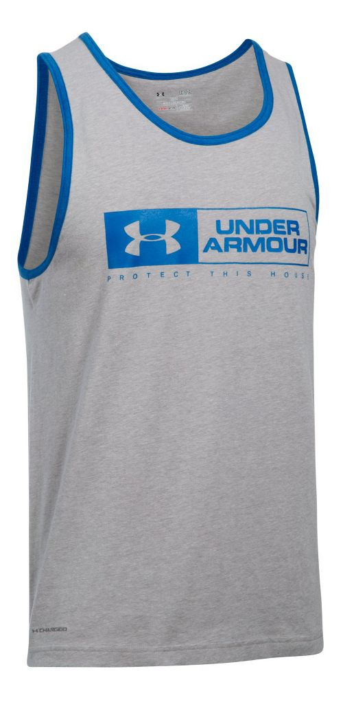 Mens Under Armour Bar Lockup Sleeveless & Tank Tops Technical Tops - Grey Heather/Blue L ...