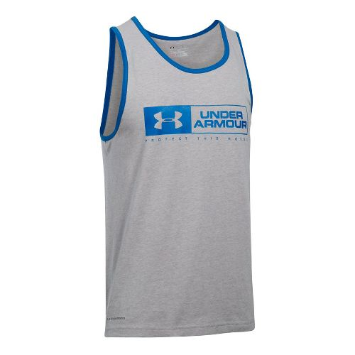 Mens Under Armour Bar Lockup Sleeveless & Tank Tops Technical Tops - Grey Heather/Blue M ...