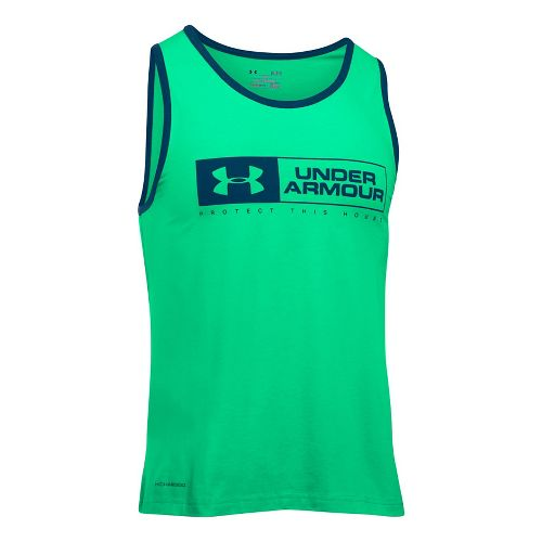 Mens Under Armour Bar Lockup Sleeveless & Tank Tops Technical Tops - Vapor Green/Navy XL ...