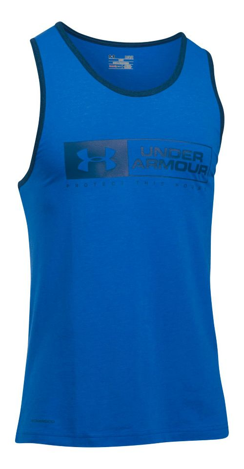 Mens Under Armour Bar Lockup Sleeveless & Tank Tops Technical Tops - Blue Heather/Navy L